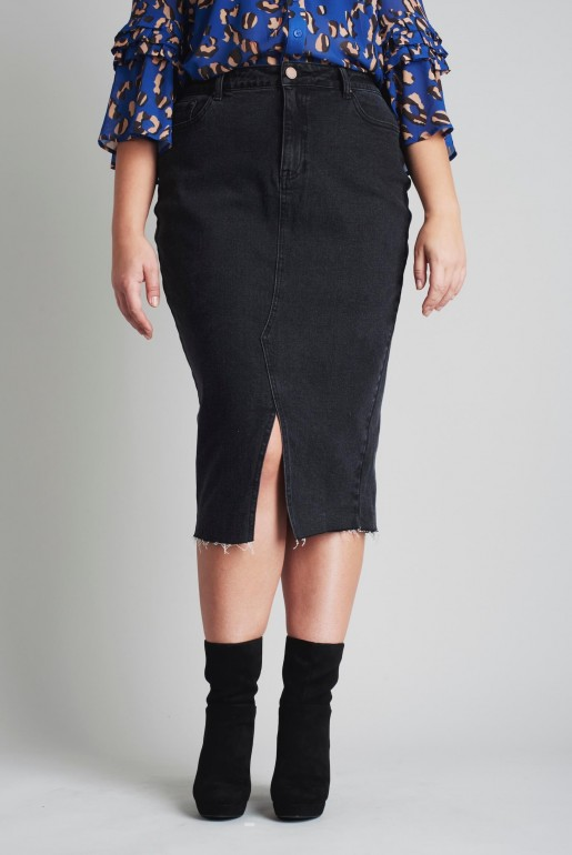 DENIM PENCIL SKIRT IN WASHED BLACK - Image 2