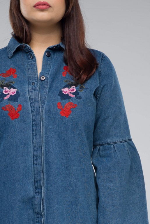 DENIM SHIRT DRESS WITH EMBROIDERY