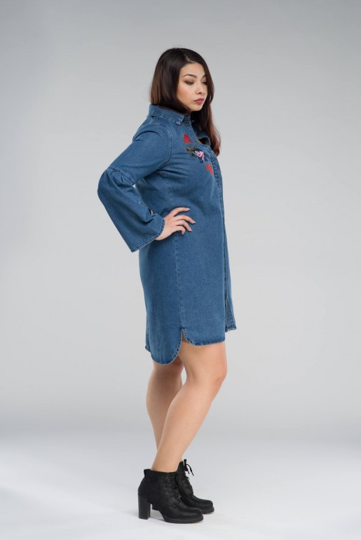 DENIM SHIRT DRESS WITH EMBROIDERY - Image 3