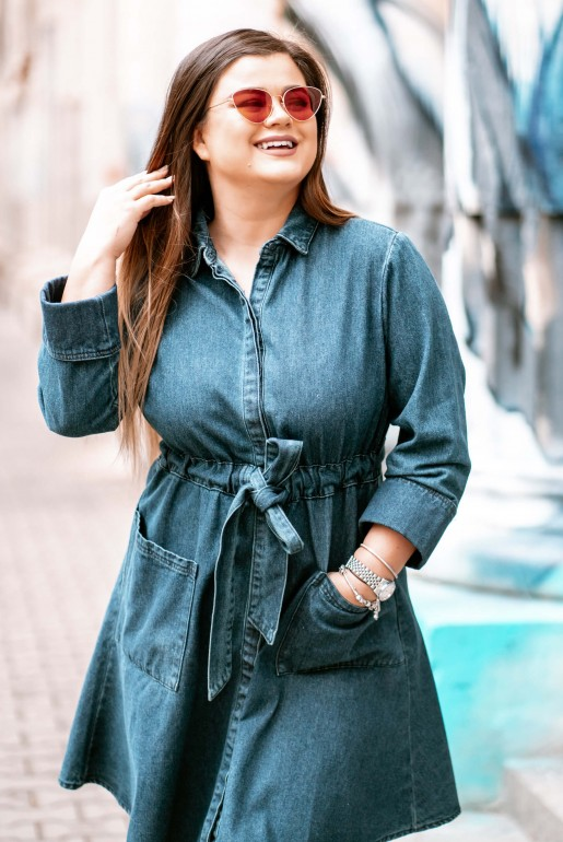 DENIM DRESS WITH TIE WAIST DRESS