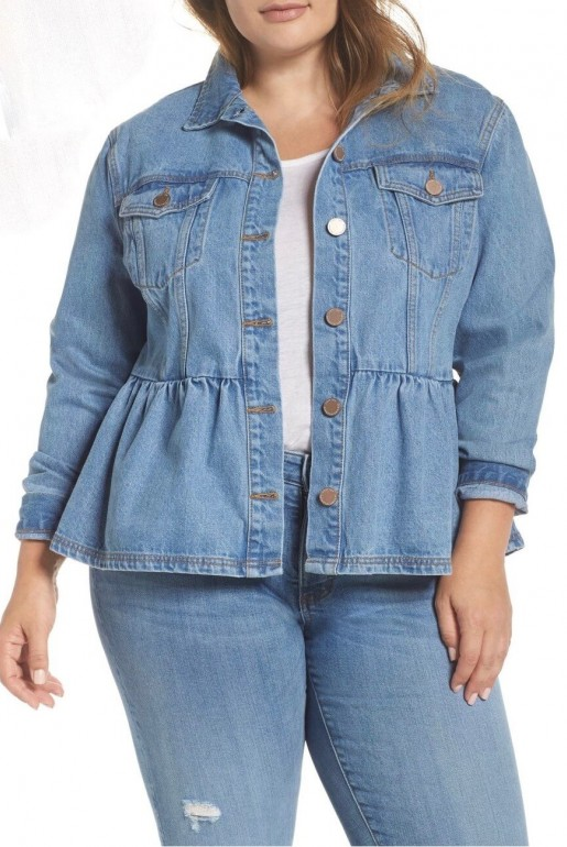 DENIM JACKET WITH PEPLUM