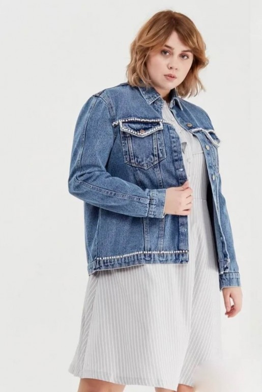 DENIM JACKET WITH PEARLS - Image 3
