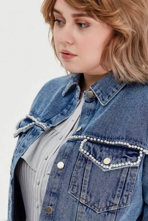 DENIM JACKET WITH PEARLS