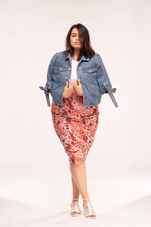 DENIM JACKET WITH TIE SLEEVE