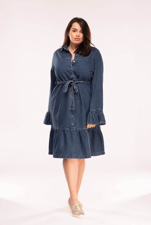 DENIM DRESS WITH TIE WAIST