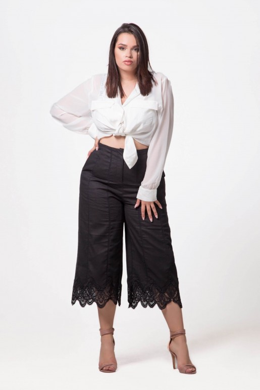 LINEN TROUSER WITH LACE HEM