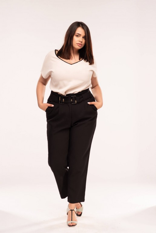PEG TROUSER WITH DOUBLE BUCKLE