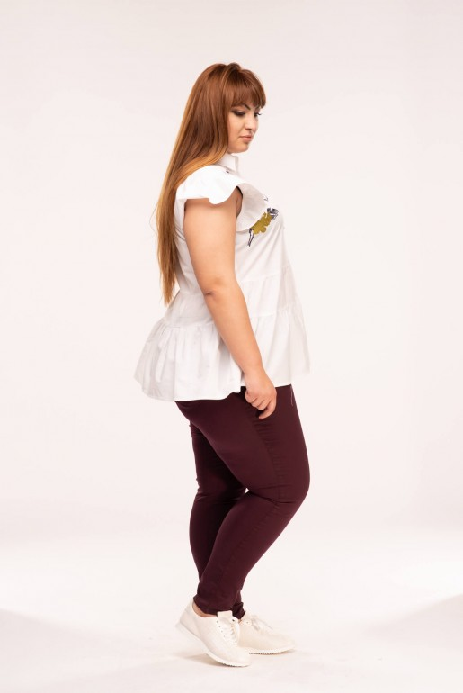 BUTTON FRONT JEGGING IN WINE - Image 3