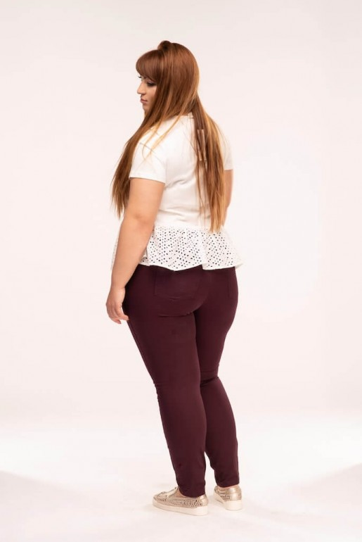 BUTTON FRONT JEGGING IN WINE - Image 4