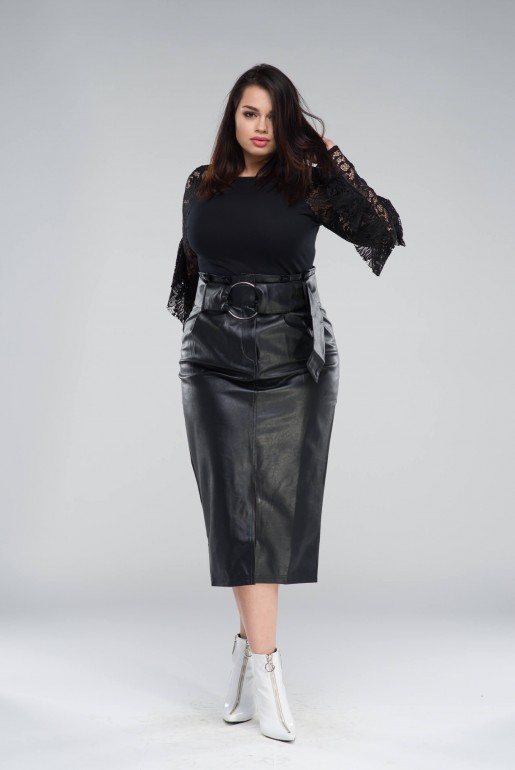 PENCIL SKIRT IN PU WITH BELT - Image 2