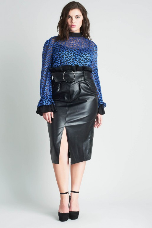 PENCIL SKIRT IN PU WITH BELT