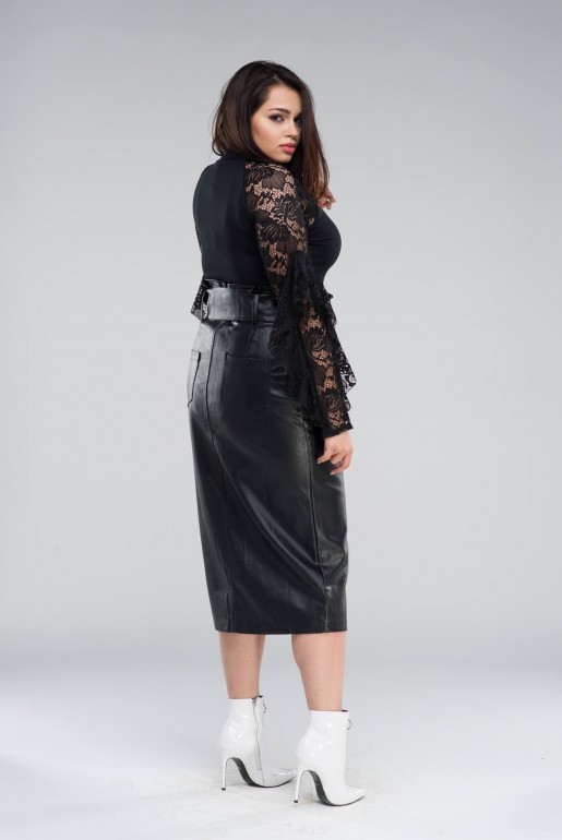 PENCIL SKIRT IN PU WITH BELT - Image 3