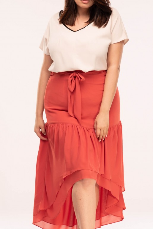 MAXI SKIRT WITH ASYM FRILLS