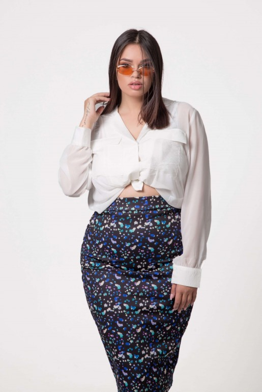 PENCIL SKIRT IN ABSTRACT PRINT - Image 3