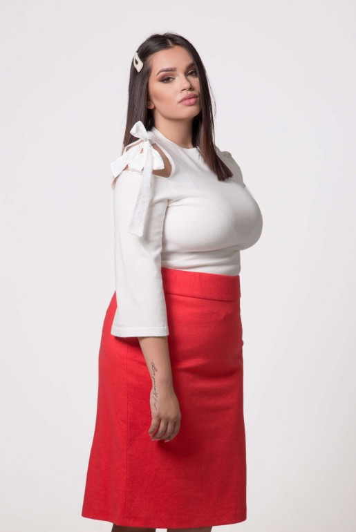 STRAIGHT SKIRT IN CORAL - Image 4