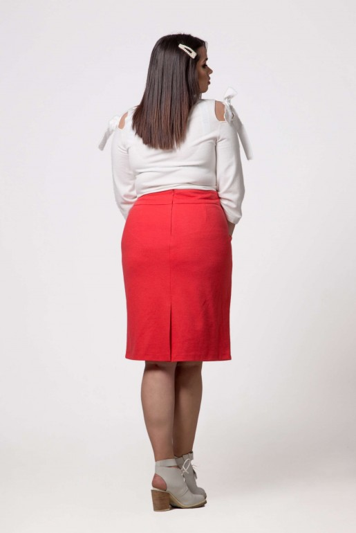 STRAIGHT SKIRT IN CORAL - Image 5