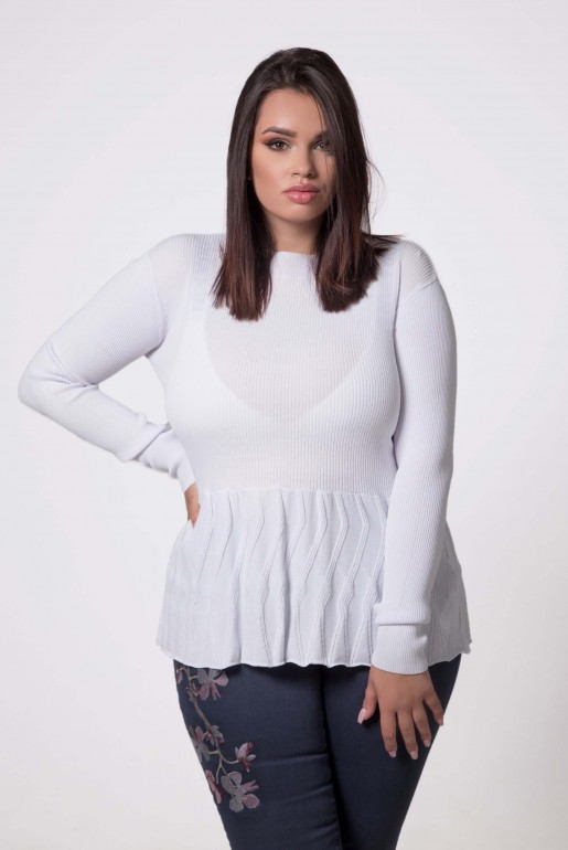 JUMPER WITH TEXTURED PEPLUM