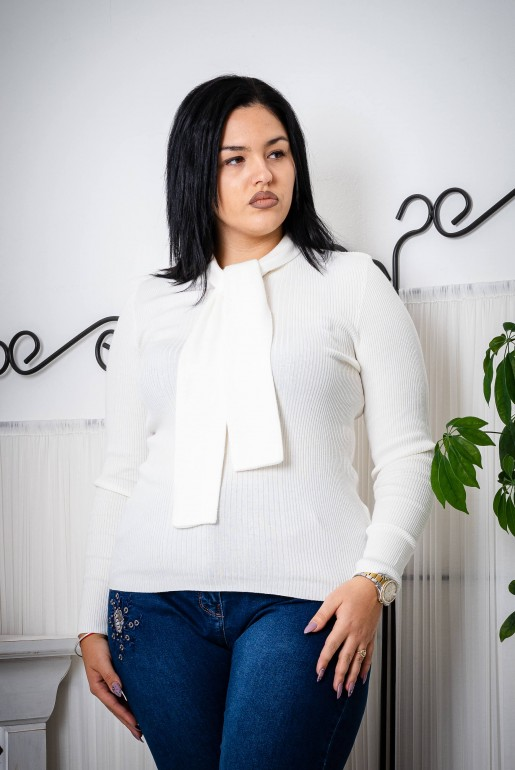 TIE NECK RIBBED JUMPER