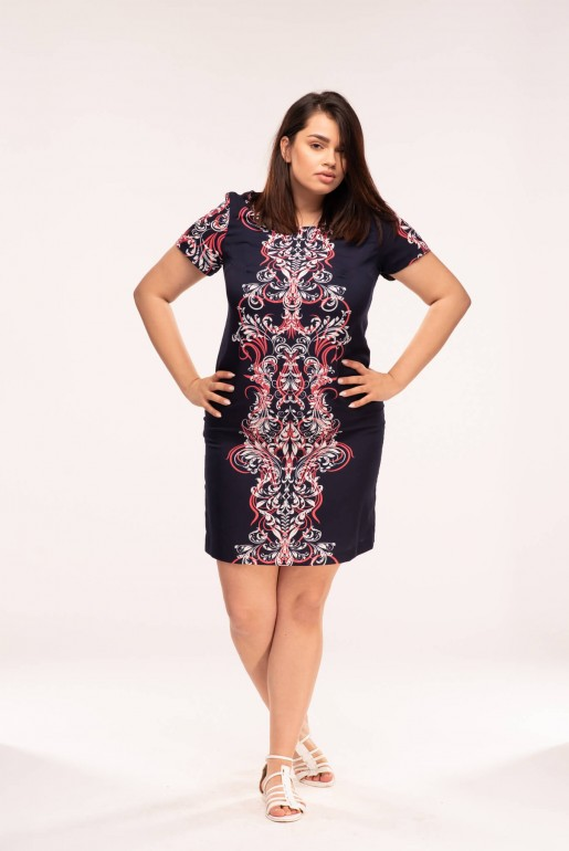 Straight dress with short sleeves in dark blue with coral ornaments