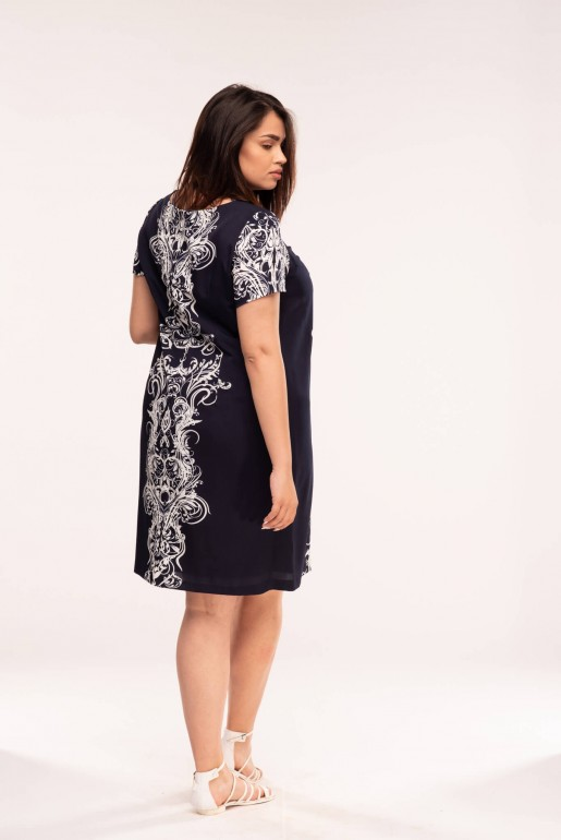 Straight dress with short sleeves in dark blue with coral ornaments - Image 3