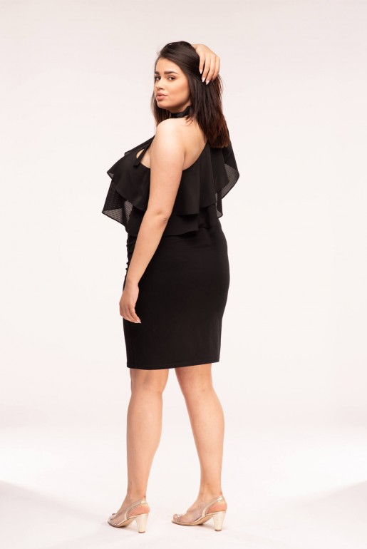 BODYCON DRESS WITH RUFFLE ONE SHOULDER - Image 4