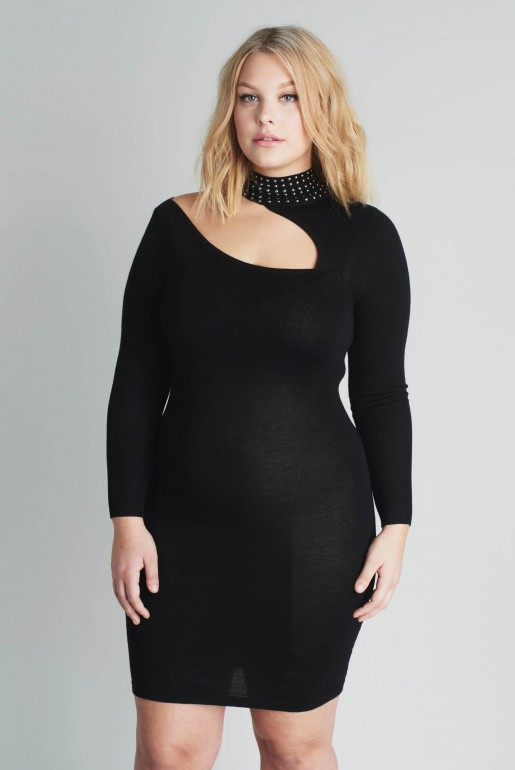 KNITTED BODYCON DRESS WITH STUDS