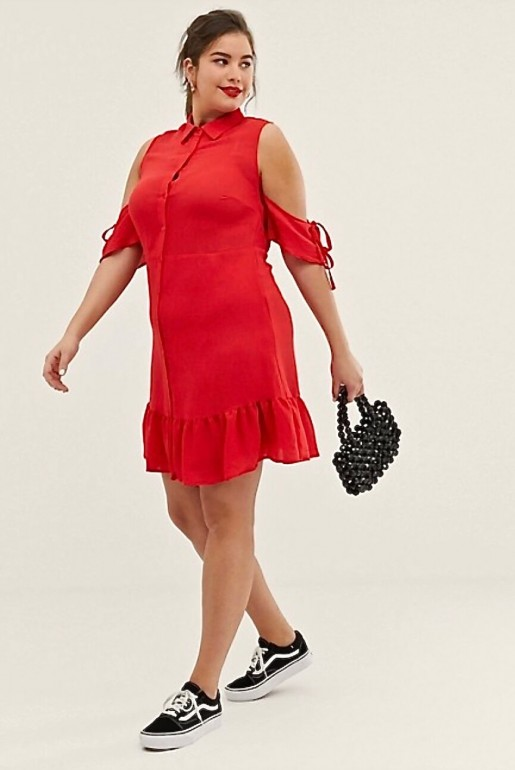 FIT & FLARE SHIRT DRESS WITH FRILL HEM - Image 4