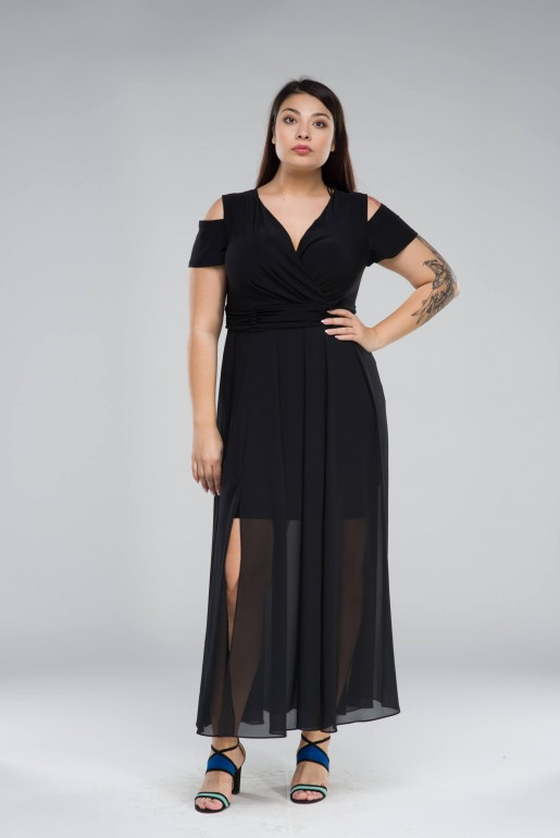 Chiffon long Dress with cold shoulder