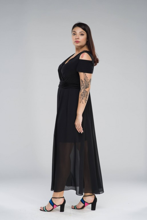 Chiffon long Dress with cold shoulder - Image 2