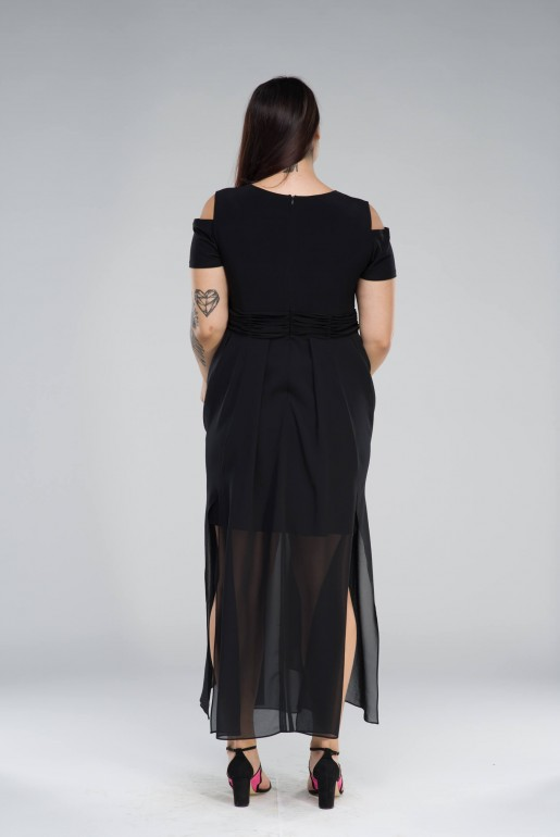 Chiffon long Dress with cold shoulder - Image 3