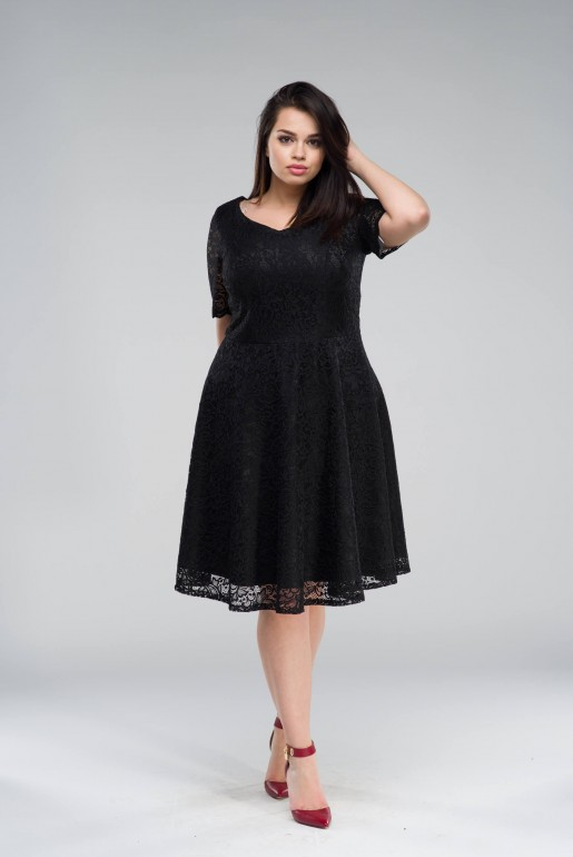 flared black dress in Lace