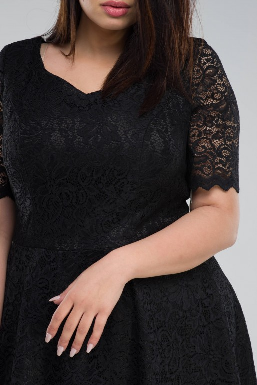 flared black dress in Lace - Image 4