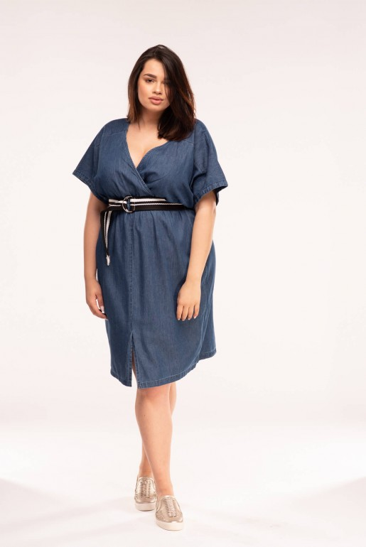 DENIM DRESS WITH WRAP & BELT