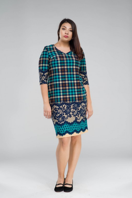 Dress Penelopa in turquoise plaid