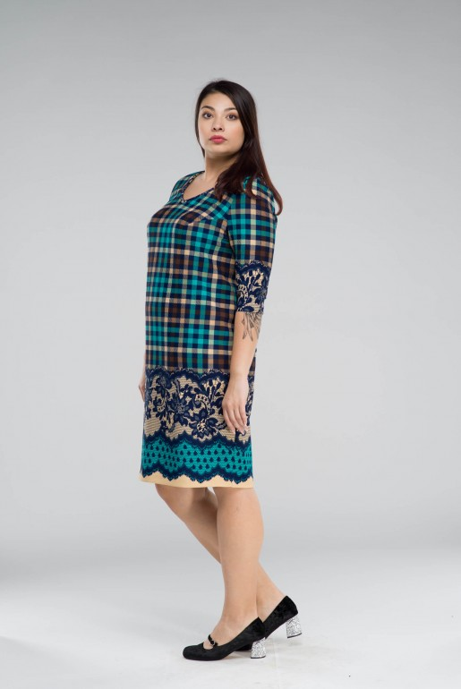 DRESS PENELOPA IN coral PLAID - Image 3
