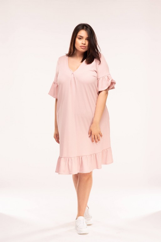 SWING DRESS IN RIB WITH FRILL HEM