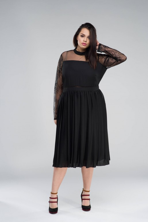 MIDI DRESS WITH PLEATED SKIRT& LACE