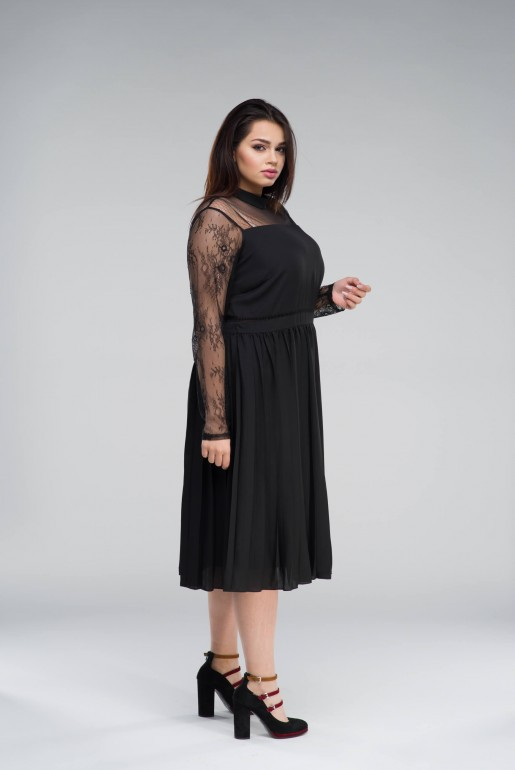 MIDI DRESS WITH PLEATED SKIRT& LACE - Image 3