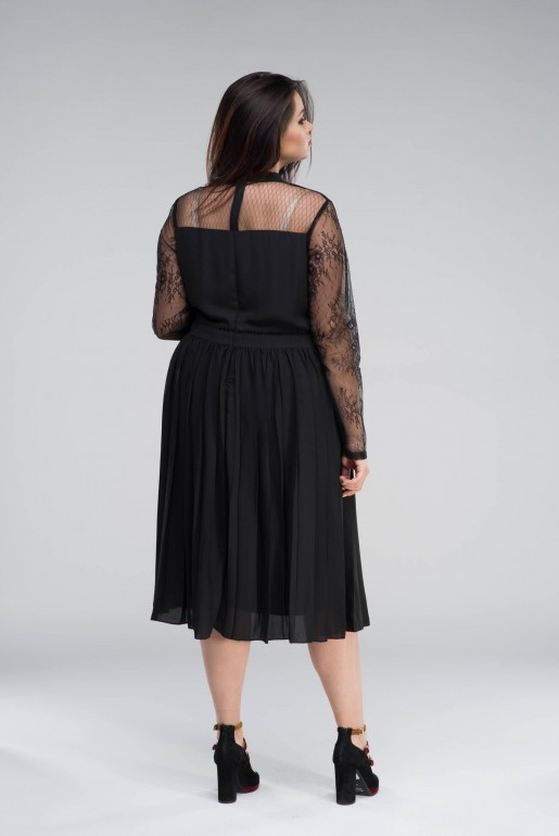 MIDI DRESS WITH PLEATED SKIRT& LACE - Image 4