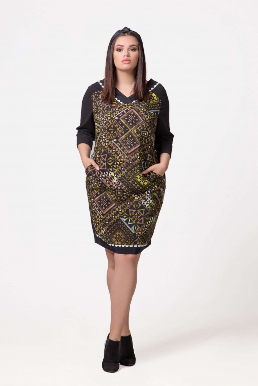 Dress Devon in green with geometric print - Image 2