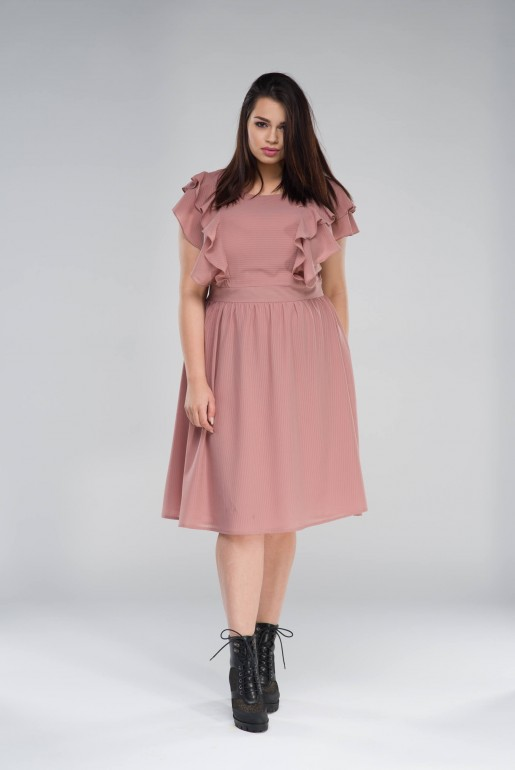FIT & FLARE DRESS IN SELF STRIPE