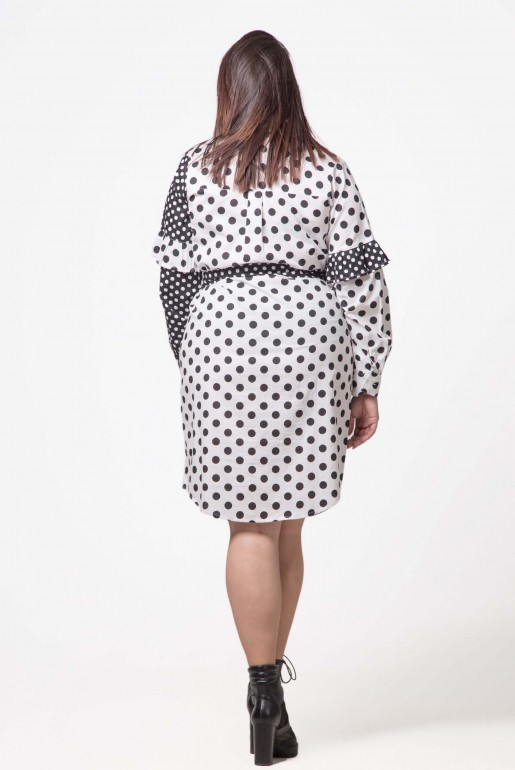 SHIRT DRESS IN MIXED SPOT - Image 4