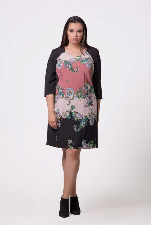 DRESS IN BLACK WITH FLORAL PRINT