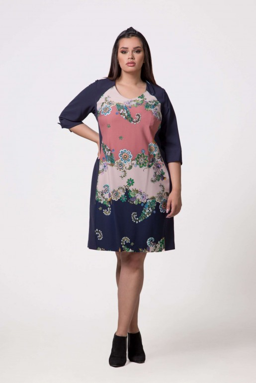 Dress in dark blue with floral print