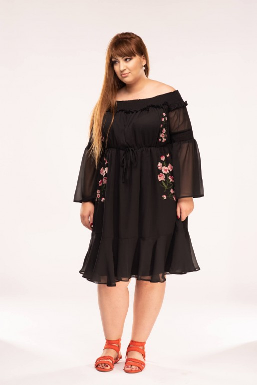 BARDOT DRESS WITH EMBROIDERY