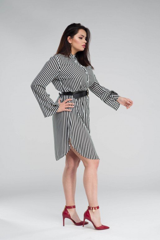 SHIRT DRESS IN STRIPE WITH BELT