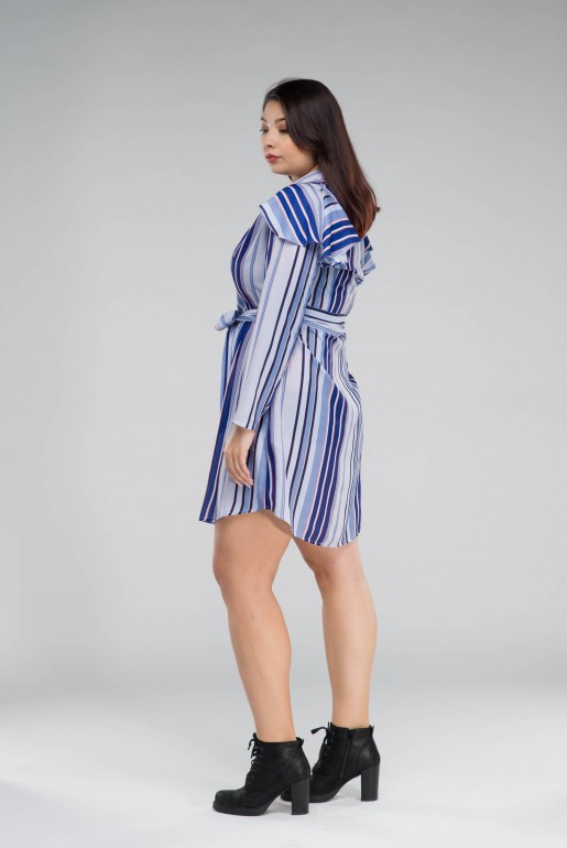 SHIRT DRESS IN STRIPE WITH FRILLS - Image 4