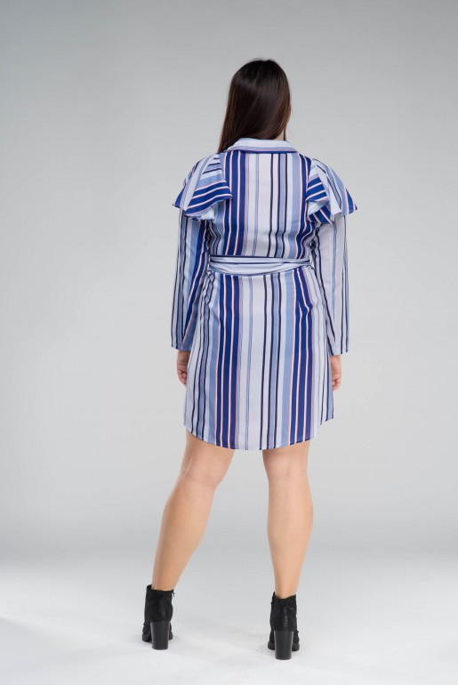 SHIRT DRESS IN STRIPE WITH FRILLS - Image 5