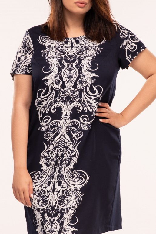Straight dress with short sleeves in dark blue with ornaments in turquoise - Image 4