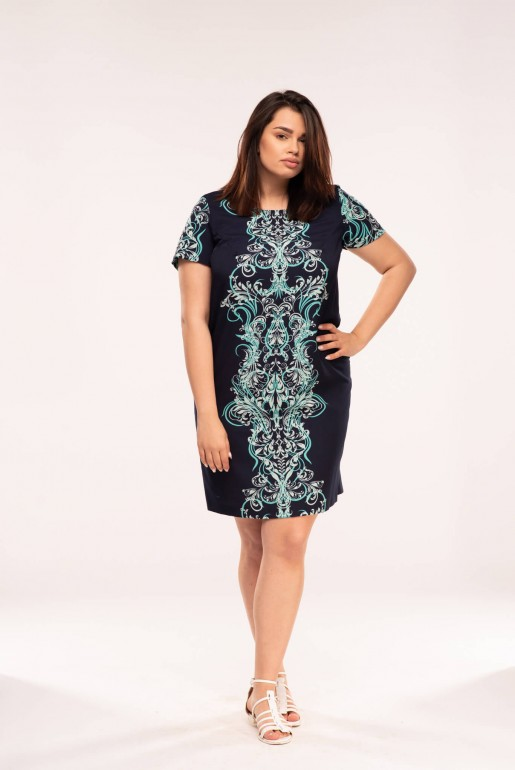 Straight dress with short sleeves in dark blue with ornaments in turquoise